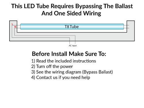 T8 LED Bulbs 5000K Daylight, Ballast Bypass Tubes; 15 Watt - 1800 lumens - One Sided Direct Wire