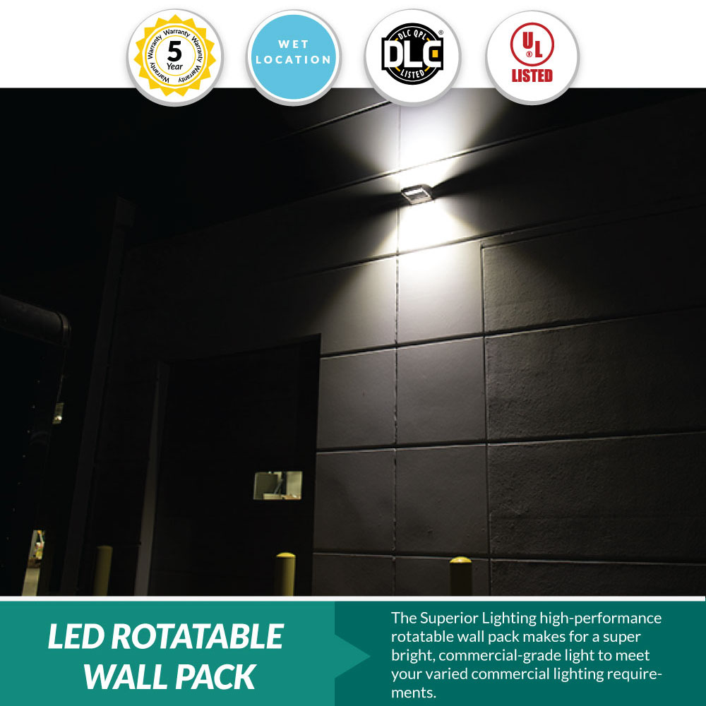 LED Rotatable Wall Pack - 60 Watt = 200-300W MH, 8100 Lumens, 5000K Dayllight, Bronze Housing Color