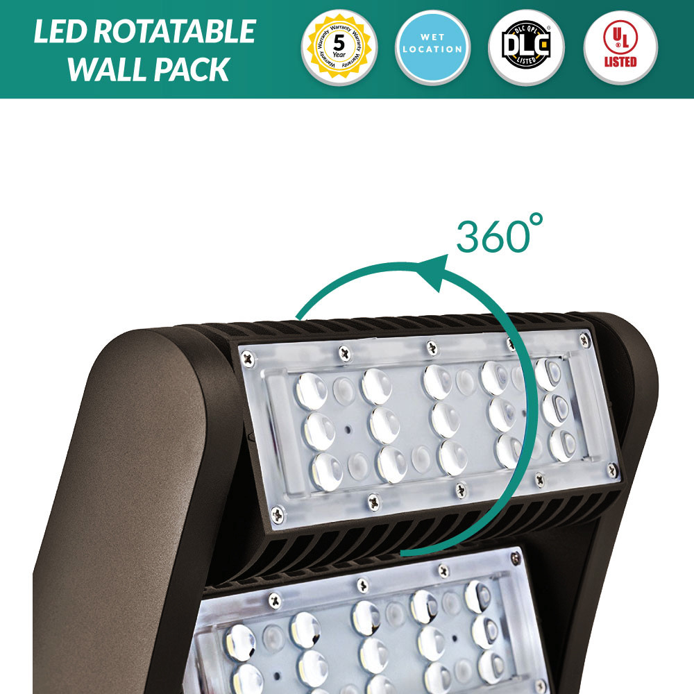 LED Rotatable Wall Pack - 60 Watt = 200-300W MH, 8100 Lumens, 5000K Dayllight, Bronze Housing Color