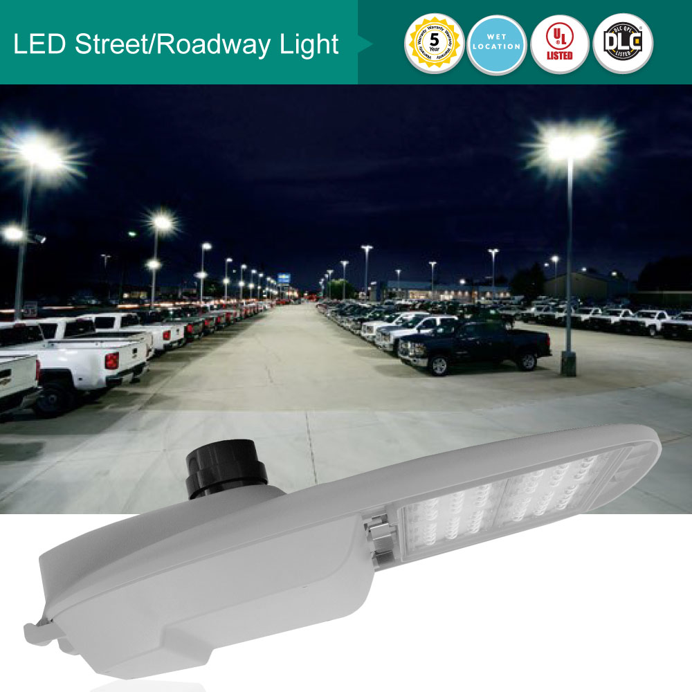 100 Watt LED Street/Roadway Lights With Nema Twist-Lock Photocell - 13000 Lumens 5000K Daylight