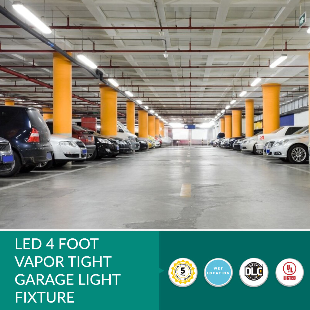 2 Foot LED Vapor Tight Weatherproof Light Fixture - 25 Watt-  3,125 Lumens - 4 Foot - 4000K Cool White