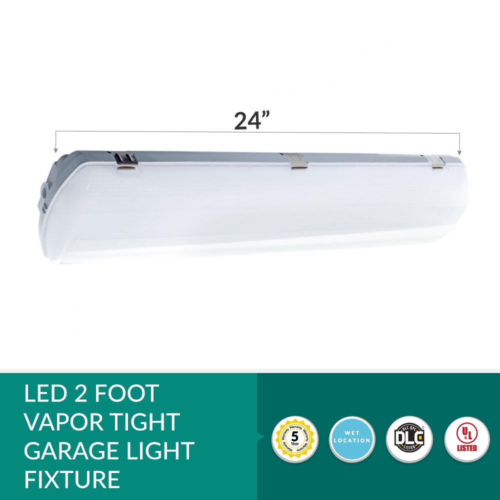 2 Foot LED Vapor Tight Weatherproof Light Fixture - 25 Watt-  3,125 Lumens - 4 Foot - 4000K Cool White.
