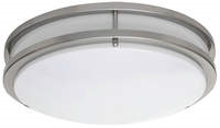 LED Round Drum Fixture with Decorative Brushed Nickel Finish