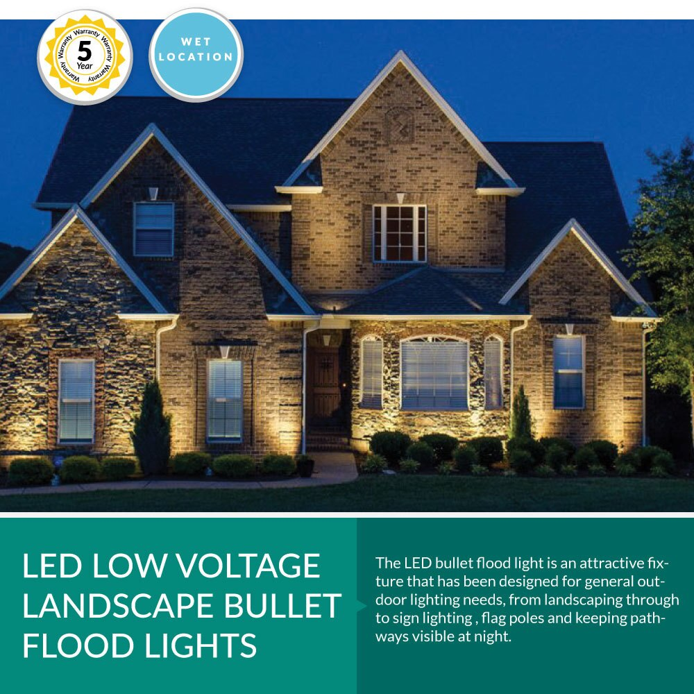 Low Voltage LED Landscape Bullet Flood Light -  12V, 32 Watt , 3500LM, 5000K Daylight
