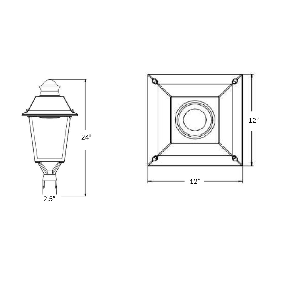 LED Post Top Downlight For Commercial Areas and Parking Lots - 30 Watt - 3600 Lumens - 5000K Daylight - Fits over 2.5 Inch Tenon Poles (requires adapter below for other sizes)