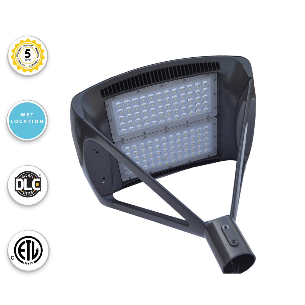 LED Modern Pole Light For Commercial Areas and Parking Lots - Super High Output 300 Watts - 39,000 Lumens - 5000K Daylight - Fits over 2.5 Inch Tenon Poles (requires adapter below for other sizes)