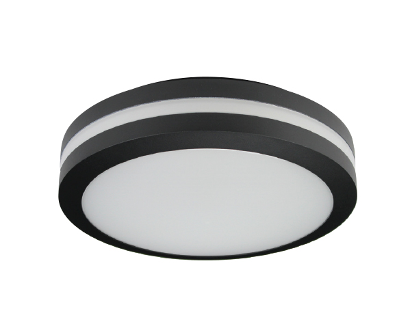 Motion Sensor LED Bulkhead Light - Ceiling or Wall Mount - Outdoor Wet Location UL Listed - 14 Watt - 1350 Lumens - 3000K - With Black Finish