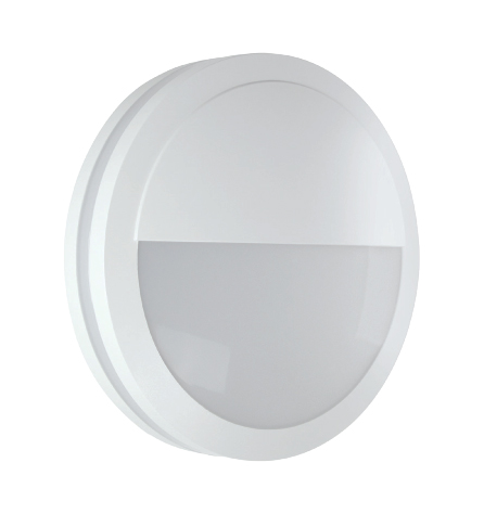 White Round LED Bulkhead Light - Ceiling or Wall Mount - Outdoor Wet Location UL Listed - 14 Watt - 1350 Lumens - 3000K