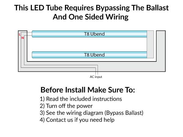 LED U Tube T8, Ballast Bypass, 12 Watt, 1800 Lumens, 5000K Daylight