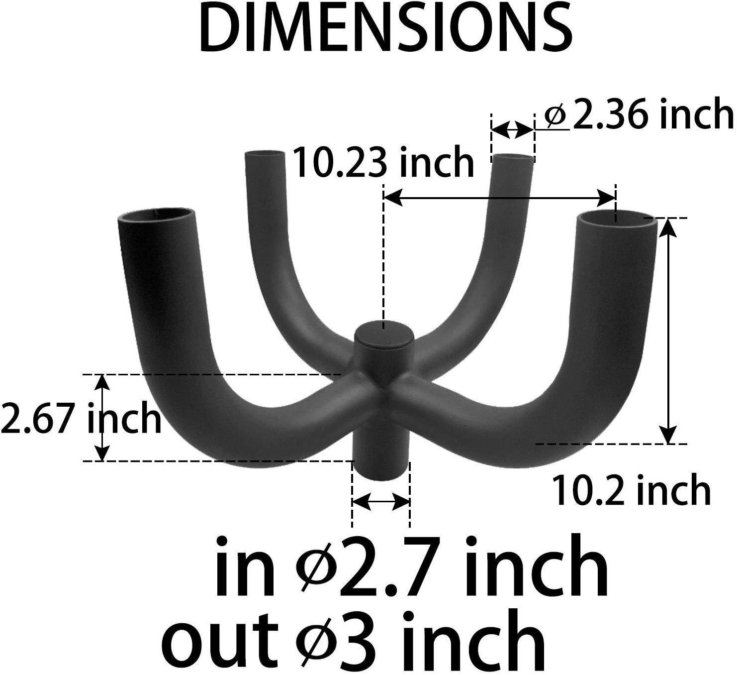 Small 4 Light Bullhorn, 4 Way Quad at 90 degrees, 2 Feet Wide, slips on 2-3/8 tenon