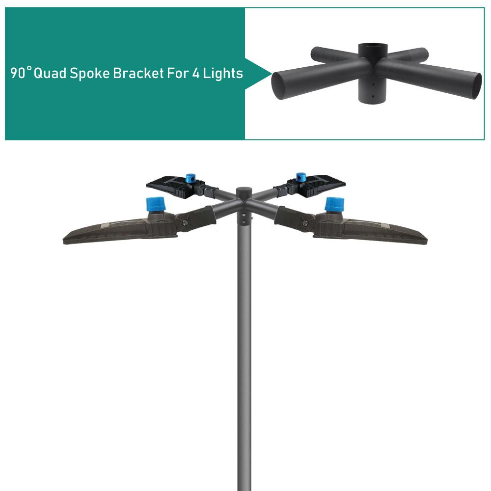 4 Head Light Pole Spoke Bracket, 4 Way Quad at 90 degrees, 2 Feet Wide, slips on 2-3/8 tenon