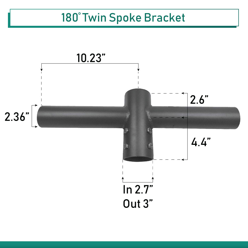 """180 Degree Pole Top Spoke Bracket for 2 Light Fixtures, 2 Way at 180 degrees, 2 Foot Wide, slips on 2-3/8"""" tenon"""