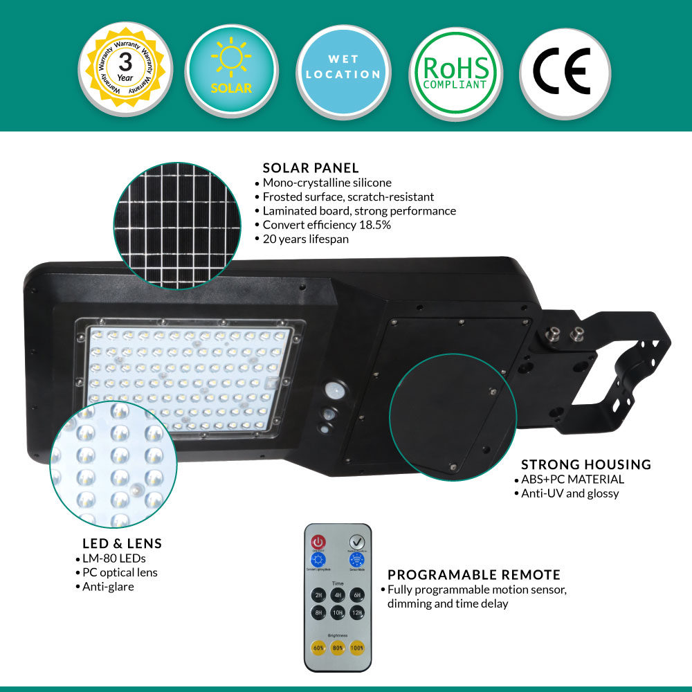 Best Solar LED Parking or Street Light - Dusk to Dawn  - 40 Watt 4800 Lumens - Programmable with Remote