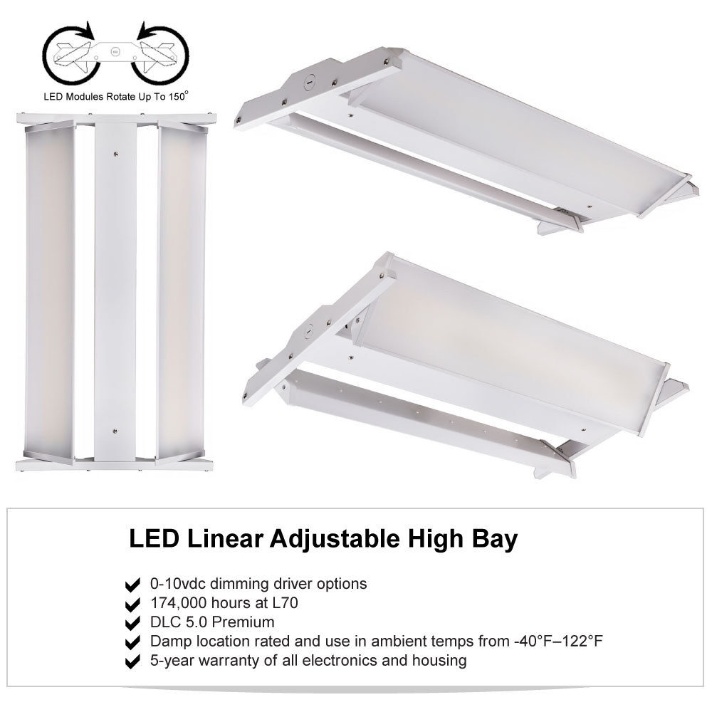 Adjustable LED High Bay Warehouse Lighting for Shops, Warehouses, Gyms, Commercial Garages and Factories