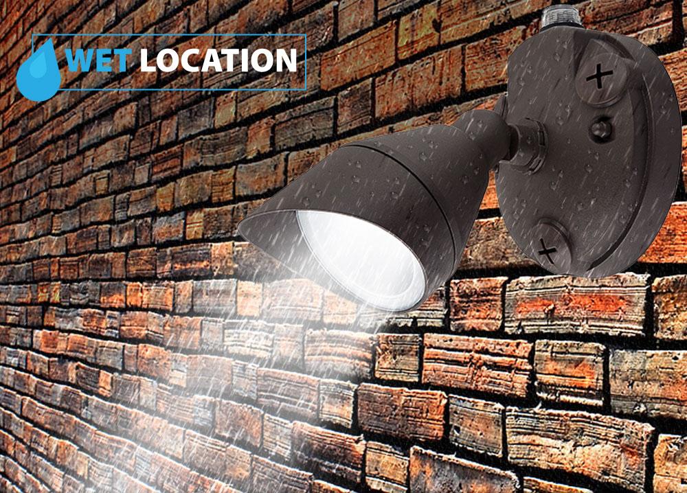 LED Dusk to Dawn Security Lights - One Head with Photocell - 12 Watt - 5000K Daylight - Bronze - 1000 Lumens