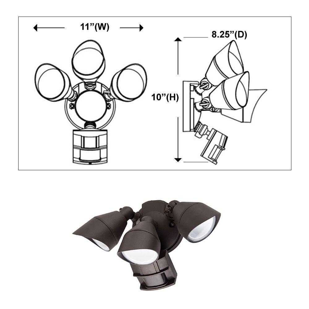 Motion Sensor LED Flood Light with Photocell - Three Head - 36 Watt - 4000K Cool White - Bronze - 3100 Lumens