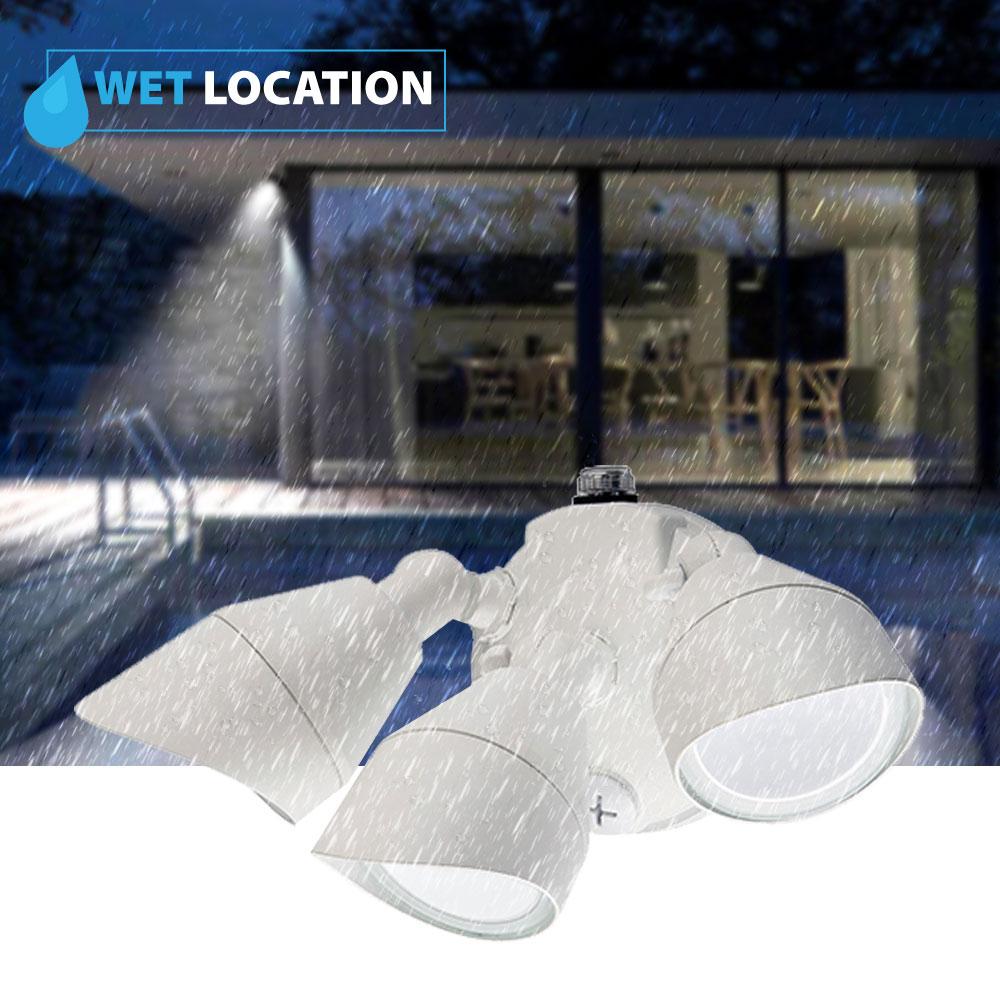 LED Soffit Lights - Three Head with Photocell - 36 Watt - 4000K Cool White - White - 3100 Lumens