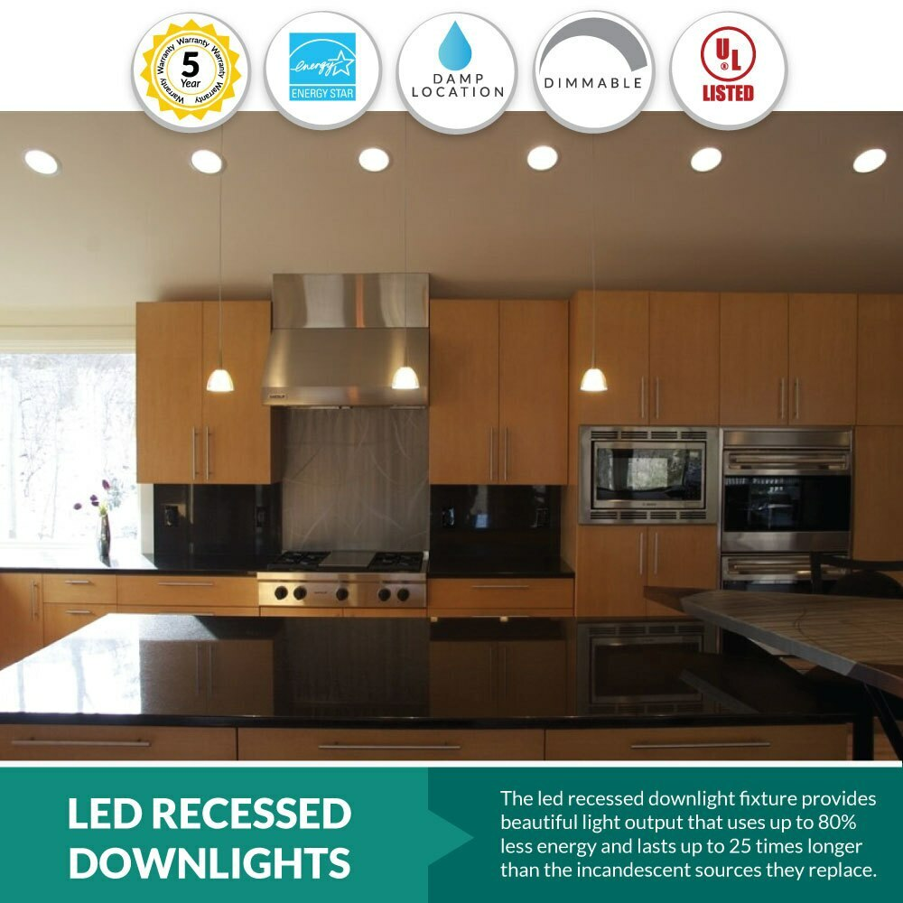LED Can Light Retrofit for 6 Inch Recessed Downlight - 16W - 1400 Lumens  - 2700k Warm White
