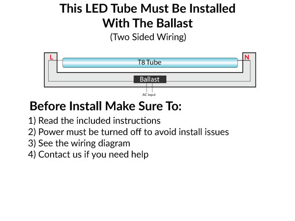 LED T8 Bulb 15W 4 FT Fluorescent Tube Replacement - Bi-Pin Base - No Rewiring - 4000K Cool White - Use with Electronic T8 Ballasts