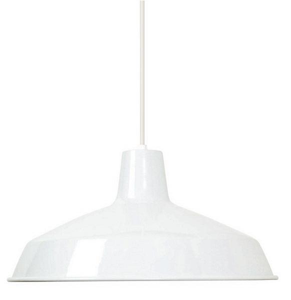 "White Industrial Warehouse Style Pendant - 16"" Diameter"
