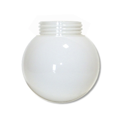 6 Inch Plastic Globe Threaded Lip Opening White Lexan
