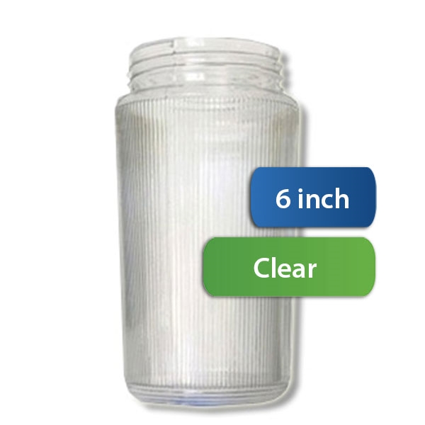 6 Inch Plastic Cylinder Threaded Lip Opening Clear Ribbed Acrylic 901