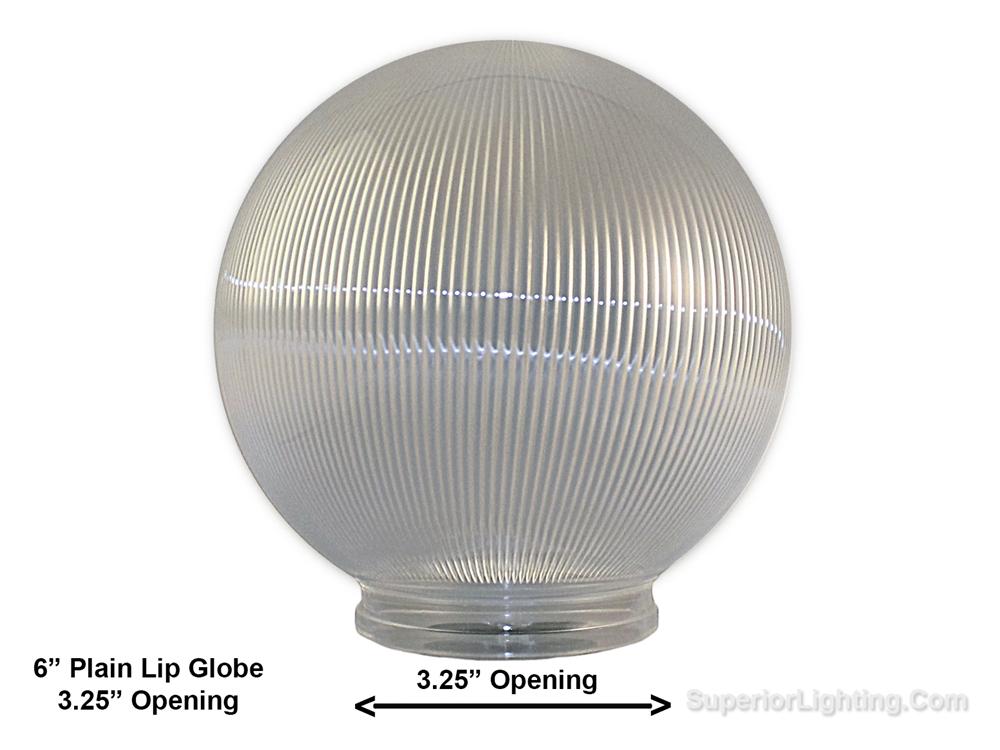 6 Inch Plastic Globe Plain Lip Opening Clear Ribbed Acrylic
