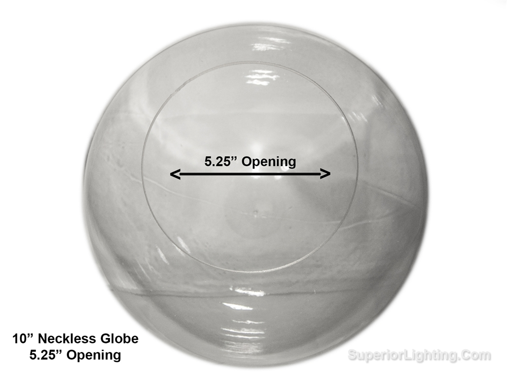 10 Inch Plastic Globe Neckless Opening Clear Acrylic