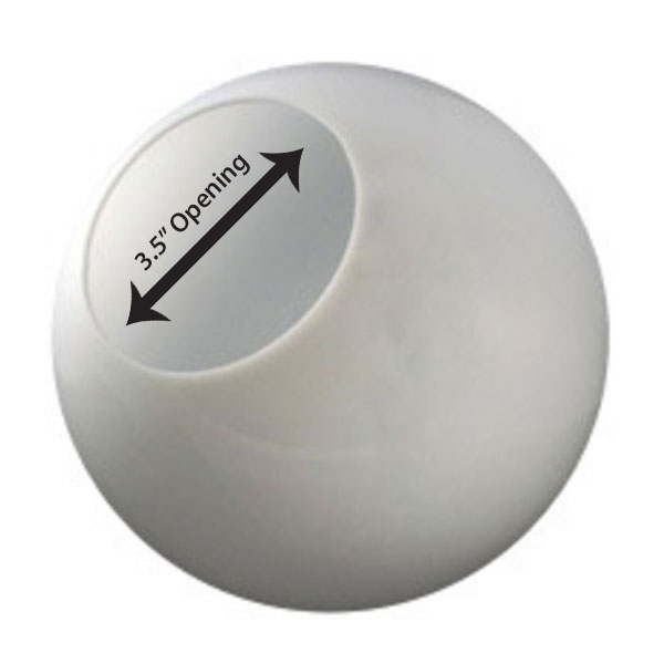 8 Inch Plastic Globe Neckless Opening White Acrylic