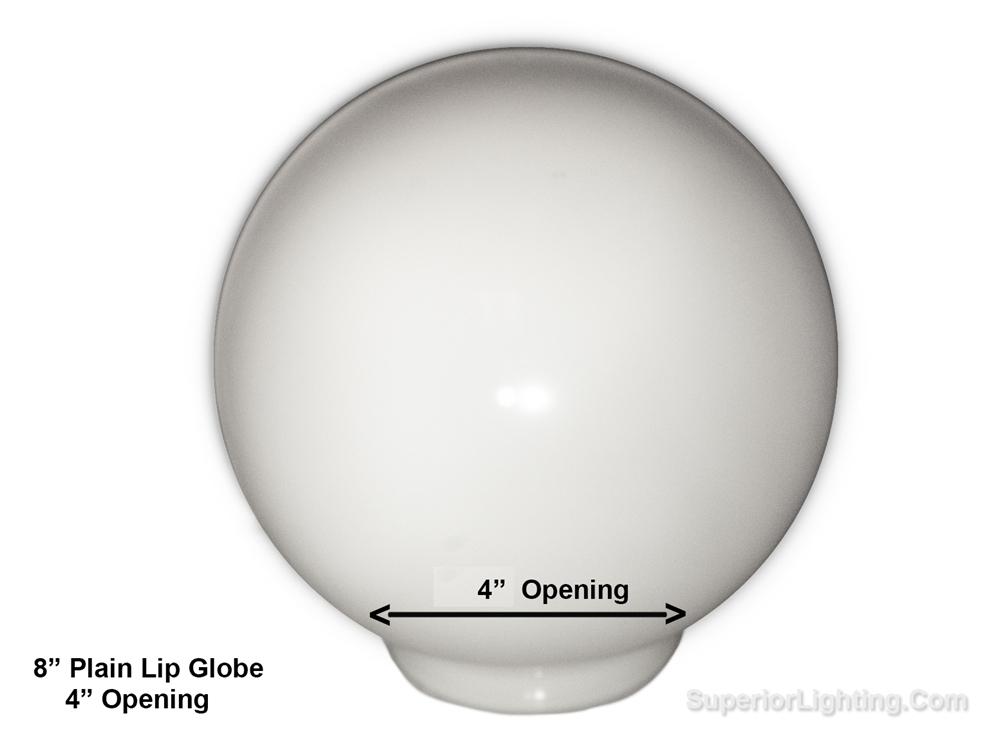8 Inch Plastic Globe Plain Lip Opening White Acrylic