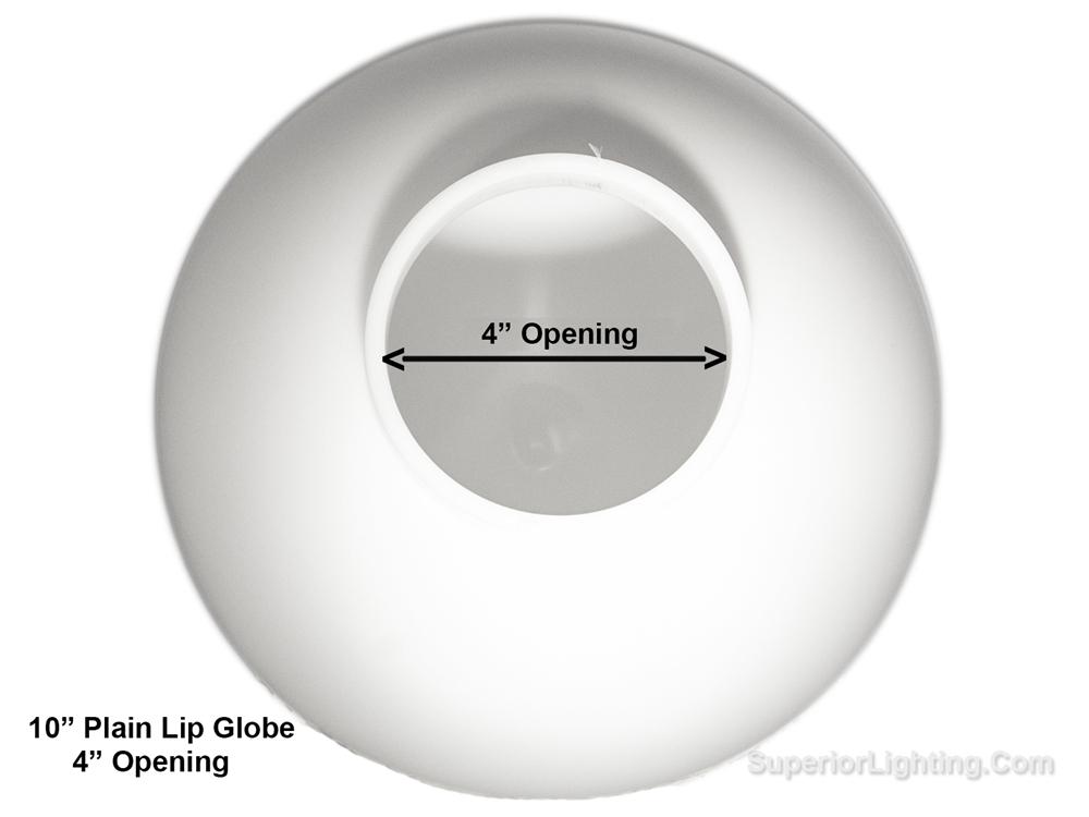 10 Inch Plastic Globe Plain Lip Opening White Acrylic