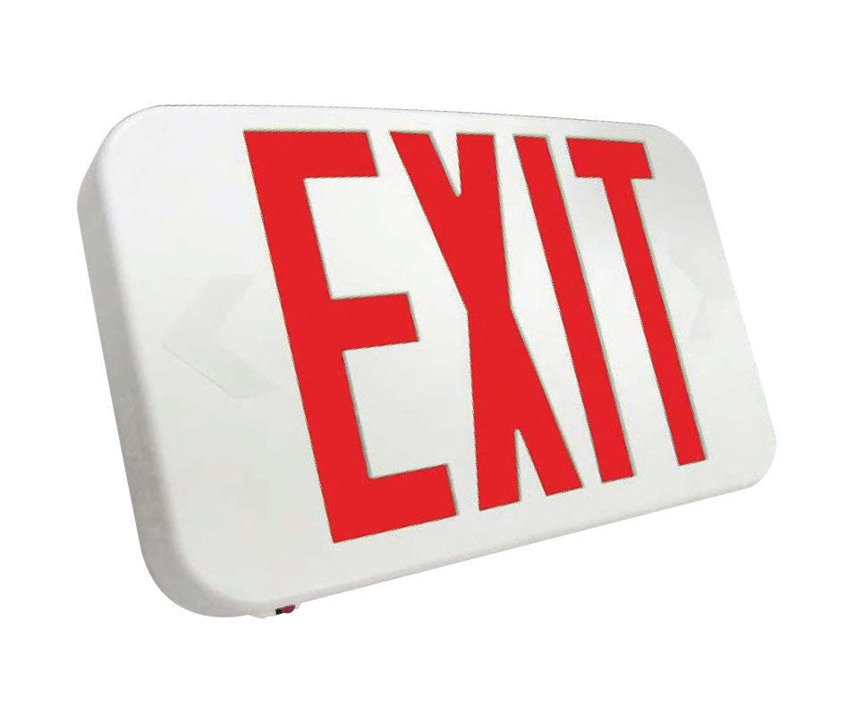 White Plastic Led Exit Sign With Red Lettering With Battery Back Up
