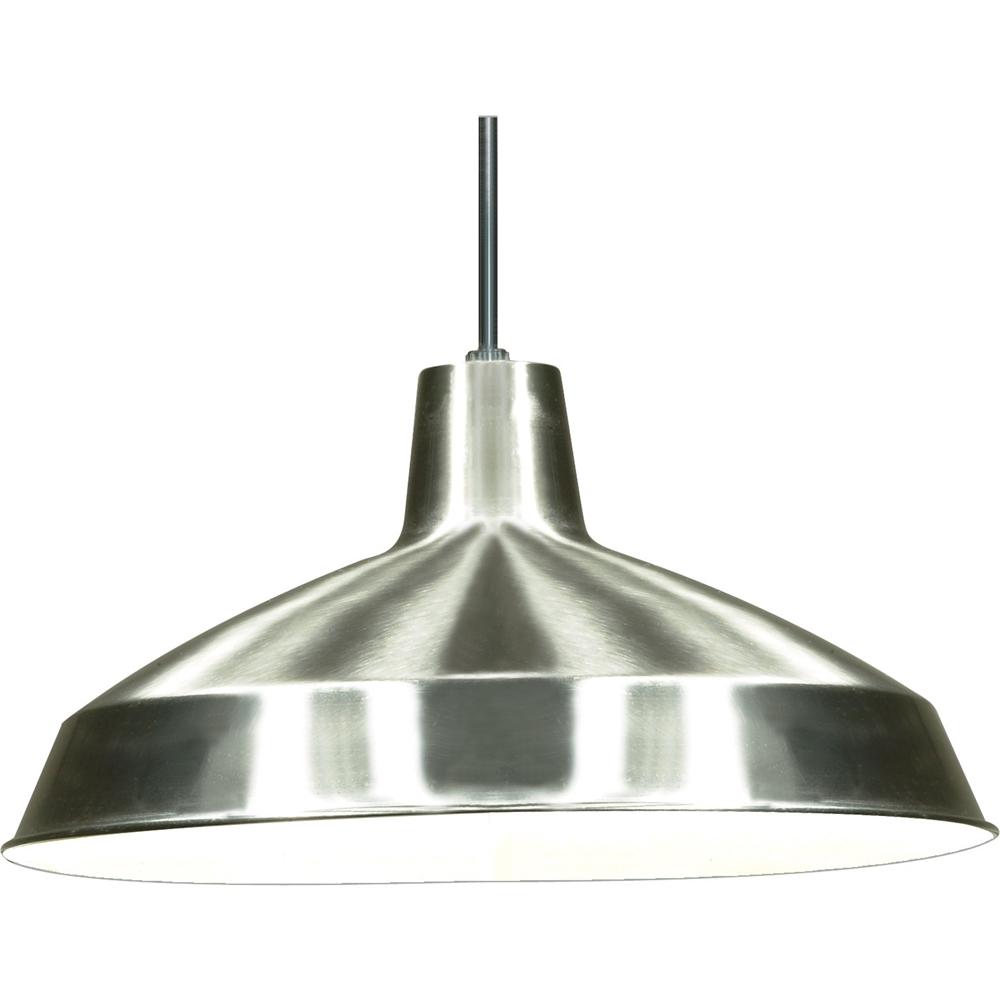 """Brushed Nickel Industrial Warehouse Style Pendant - 16"""" Diameter"""