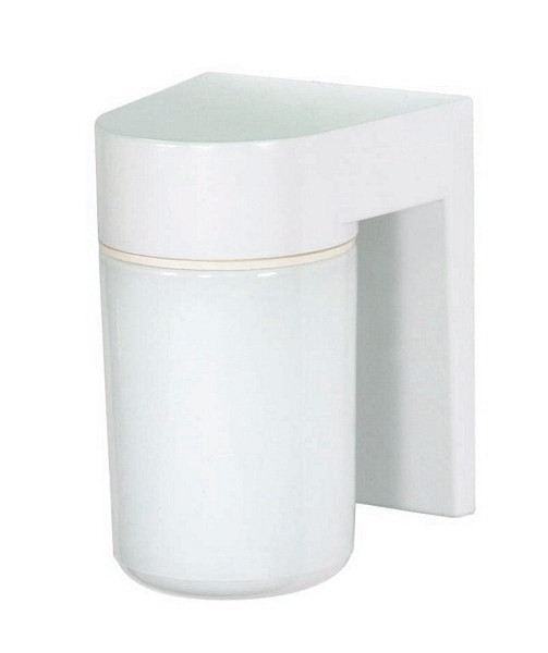 """1 Light - 8"""" - Utility, Wall Mount - With White Glass Cylinder"""