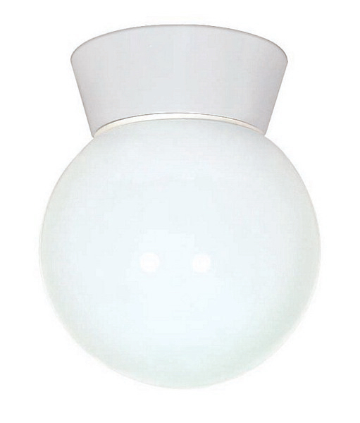 """1 Light - 8"""" - Utility, Ceiling Mount - With White Glass Globe"""