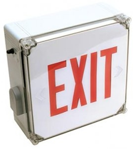 LED Wet Location Exit Sign- Battery Backup with Red Lettering