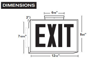 Black LED Steel Housing Exit Sign w/ Battery Back Up - Green Lettering - With Battery Back-Up
