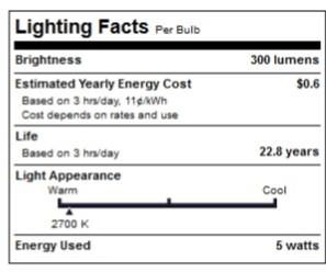 LED 5 Watt Dimmable (40W Replacement) B11 Light Bulb, Candelabra Screw (E12) Base, 2700K
