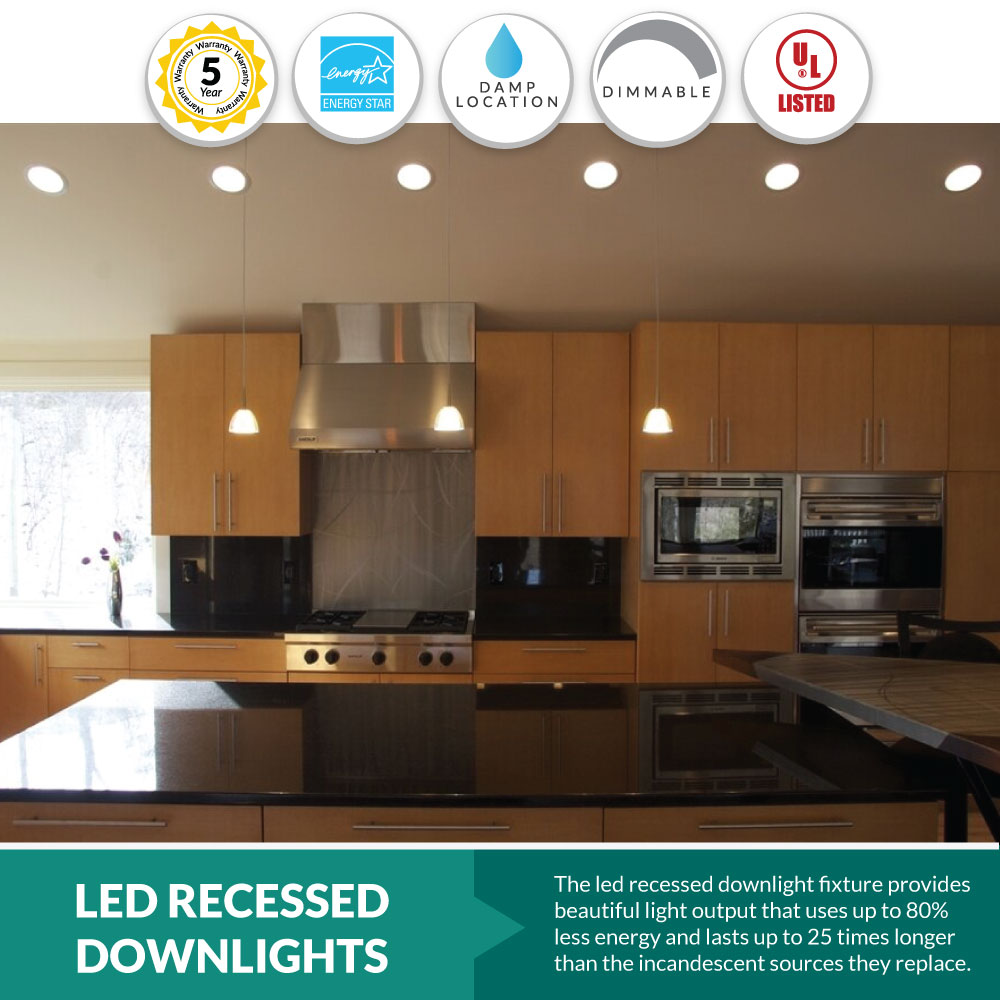 LED Downlight Retrofits for Recessed Can Lights- Choose your Size and Color - 9 Watt on Sale Now