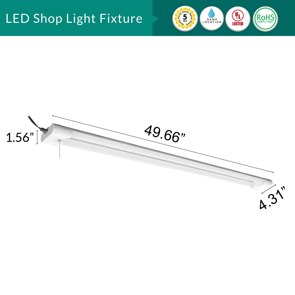 LED Shop Light Fixture -  Chain Mount or Ceiling Mount - Linkable - 42W - 4000 Lumens - 4100K Cool White