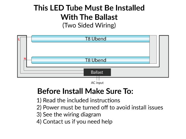 LED U Bend Tubes One Sided Wiring - Ballast Bypass Or Ballast Compatible - 12 Watt - Choose Your Color Temperature