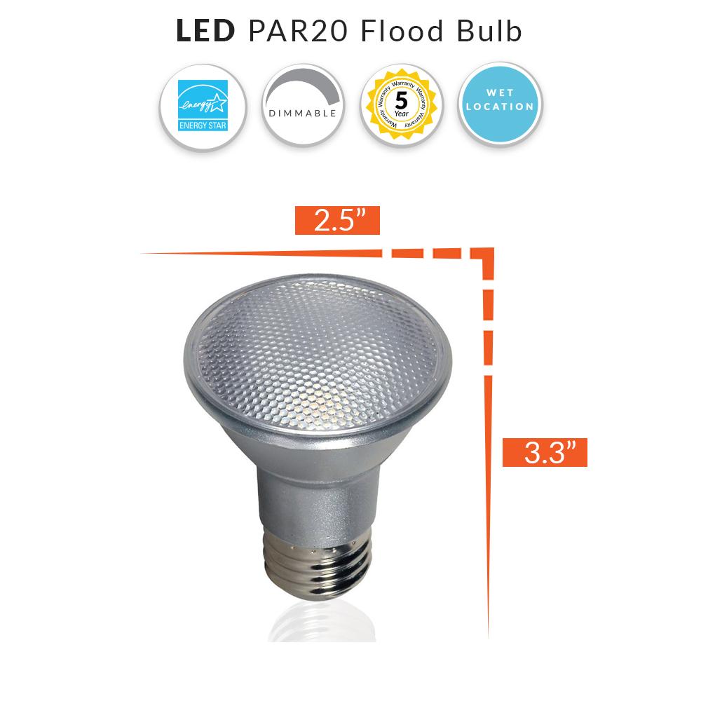 LED Wet Location PAR20 Flood Bulb, Indoor/Outdoor Rated,  Replaces 50 Watt Par 20 - Medium Base