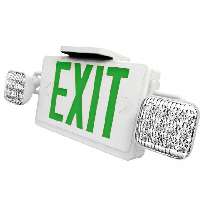 Combo LED Exit Sign And Emergency Light - White Housing Color with Green Lettering - With 90 Minute Battery Back-Up