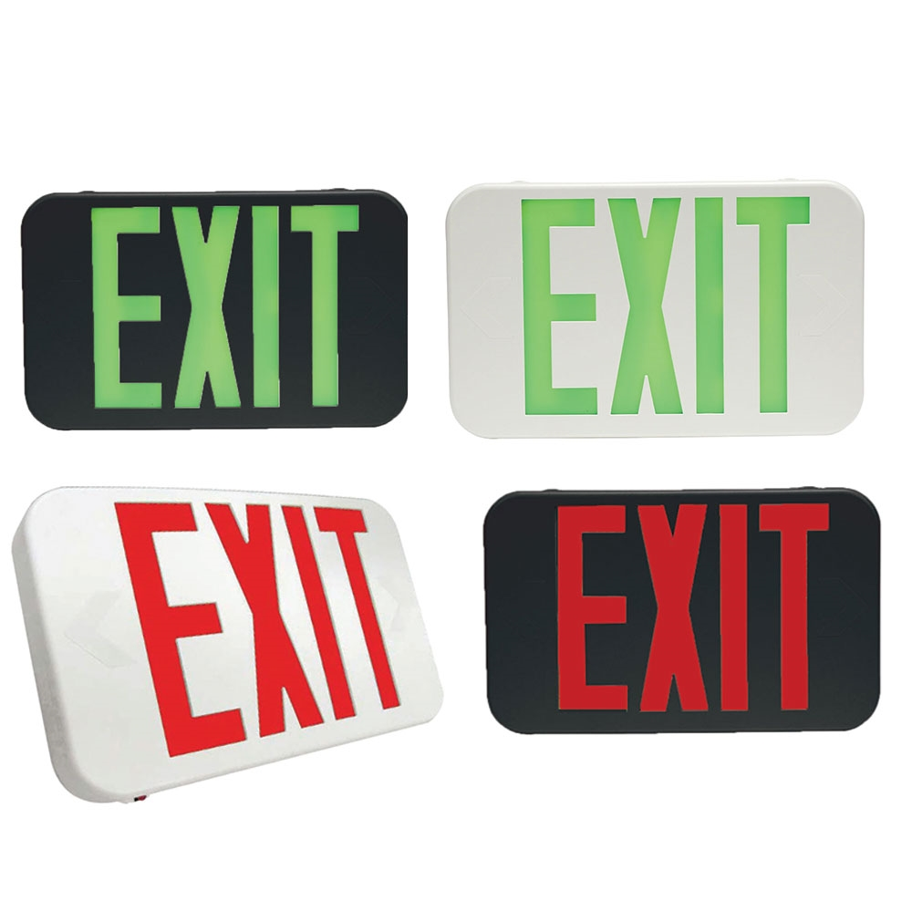 Plastic Led Exit Sign With Battery Back Up - Choose White or Black Housing Color with Red or Green Lettering
