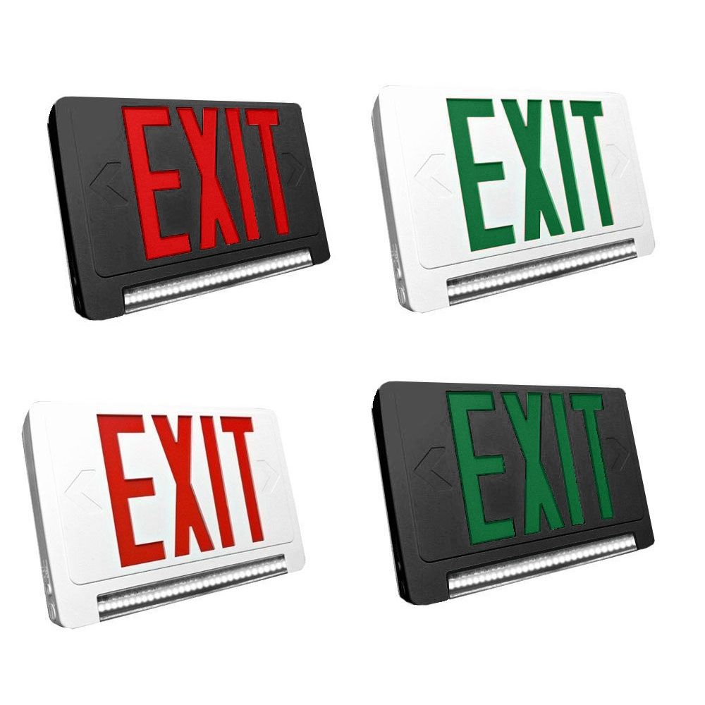 Standard Light Pipe LED Exit & Emergency Combo - Choose White or Black Housing Color, with Red or Green Lettering - With 90 Minute Battery Back-Up