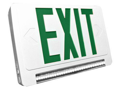 Standard Light pipe LED Exit & Emergency Combo - Green Lettering with White Housing Color - With 90 Minute Battery Back-Up