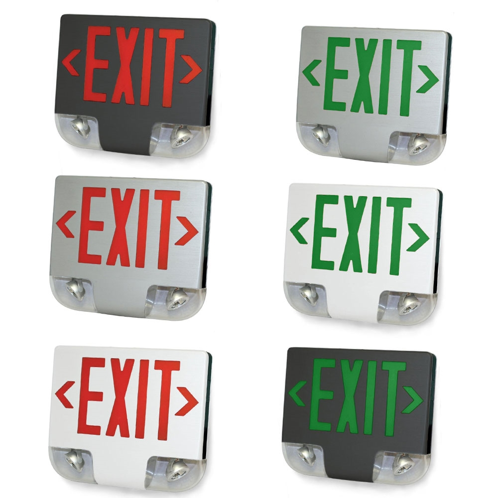 Aluminum LED Exit Sign Emergency Light Combo - Choose Red or White Lettering Color with White, Black, or Aluminum Housing Color - With 90 Minute Battery Back-Up