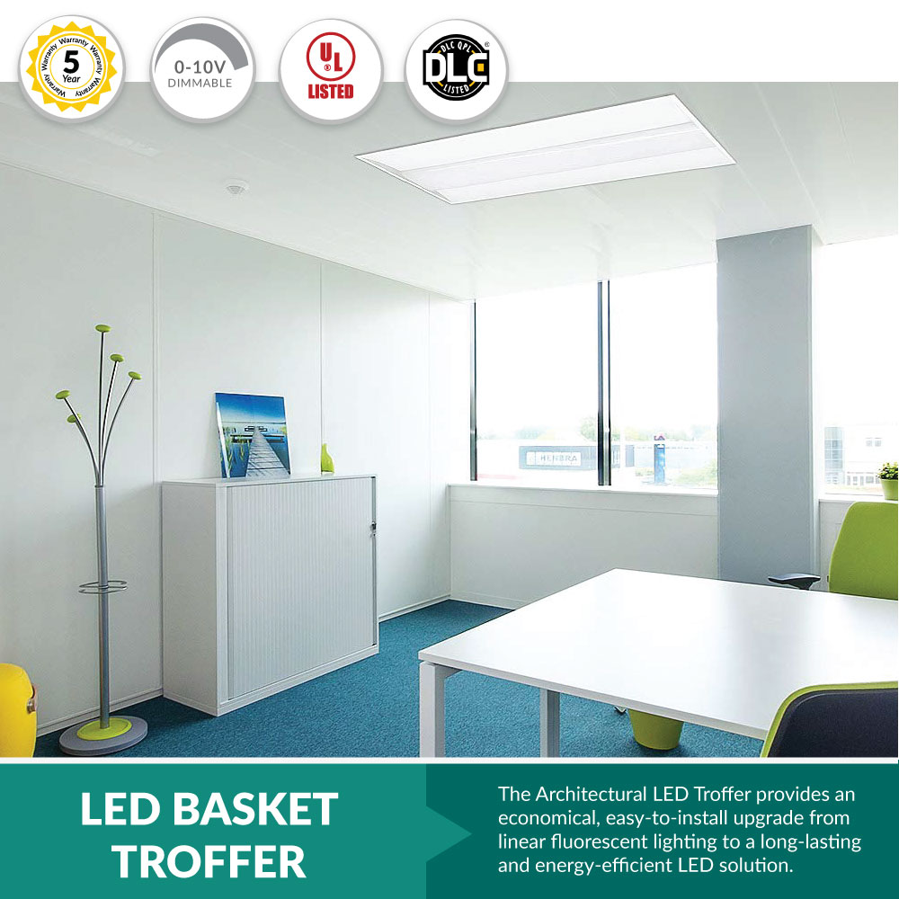 LED Center Basket Troffer Light for Office Ceilings or For Any Grid Ceiling Light Replacement