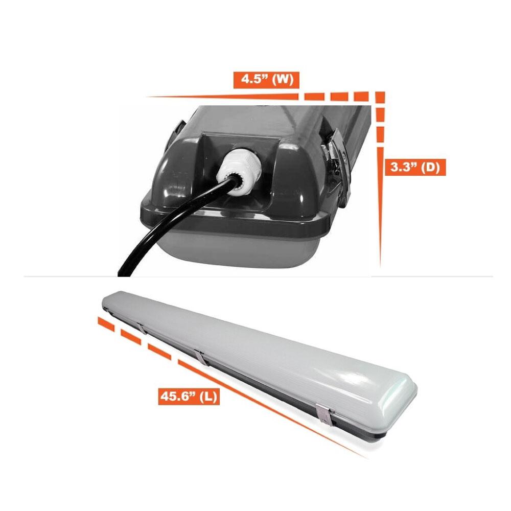 4 Foot LED Vapor Tight Light with Internal Motion Sensor- 30 Watt 3,800 Lumens - 5000K Daylight