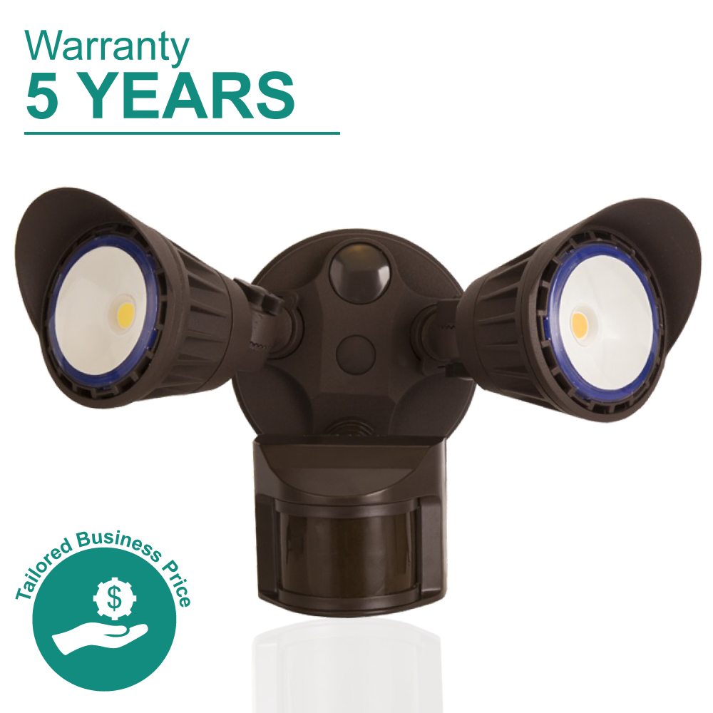 2 Head LED Motion Activated Security Flood Light - Bronze, 3000K Soft White